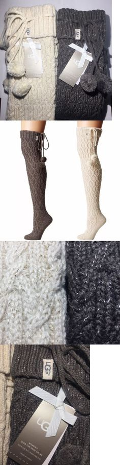 54019a171 Socks 163588  Ugg Over The Knee Sock Cable Knit Pom Pom Sparkle Gray Cream  Gold Thigh New 9-11 -  BUY IT NOW ONLY   37.86 on eBay!