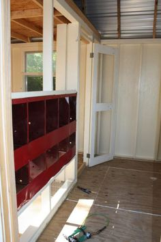Chicken House interior - make the nesting boxes on the interior wall so we can get the eggs without going in the house.