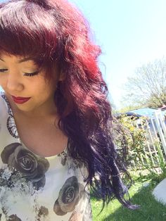 red and purple ombré with bangs
