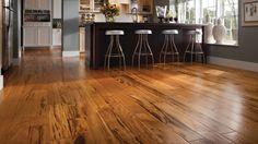 BR-111 Exotic Hardwood Flooring has unveiled its Zinfandel Tigerwood engineered wood flooring for the kitchen.