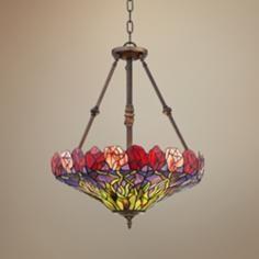 "Roza Red 20"" Wide Tiffany Style Art Glass Pendant Light"