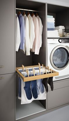 Make everyday tasks simple with these utility room storage ideas. Make everyday tasks simple with these utility room storage ideas. Basement Laundry, Small Laundry Rooms, Laundry Closet, Laundry In Bathroom, Mudrooms With Laundry, Bathroom Closet, Master Closet, Bathroom Shelves, Utility Room Storage