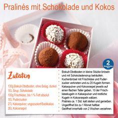 Pralinés mit Schokolade und Kokos, Süßigkeit, Dessert, Nachtisch | Weight Watchers