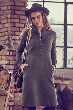 Khaki šaty s rozšířenou sukní Los Banditos Radana Model, Dresses, Fashion, Casual Looks, Vestidos, Moda, Fashion Styles, Scale Model