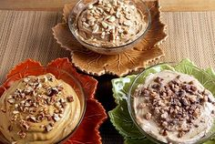 3 Fall dip recipes for cookies, fruit and pretzels.