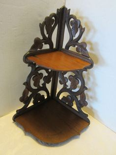 Antique Black Forest Carved Wood Corner Shelf 2 Tier Grape Vines Leaves Vintage