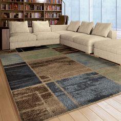 "Shop for Carolina Weavers Plush Squares Fleet Blue Area Rug (5'3"" x 7'6""). Get free shipping at Overstock.com - Your Online Home Decor…"