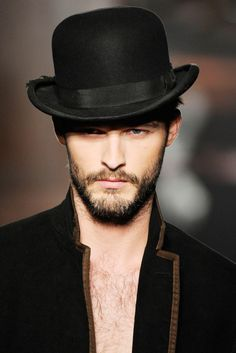 "a man with a beard in a bowler hat. this could have also gone into ""products i love"" ;) Men fashion style beautiful hot gorgeous gay 3-piece linen suit Men fashion style beautiful hot gorgeous gay straight guys suits pants bulge shirt sweater jacket tie tuxedo bro shoes casual formal street MM LGBT M4M Rob Grace Style"
