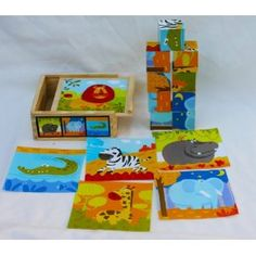 Wooden Blocks Jigsaw Puzzle - 9 Cubes of Wild Animals in a Wooden Box: Amazon.co.uk: Toys & Games