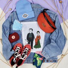 #frida #fridakahlo #outfit #lover #accessories #nativeshoes #ertz #vintage #fjallraven #socks #denim #jacket #reworked #szputnyikshop #budapest Native Shoes, Leather Ring, Budapest, Sling Backpack, Vintage, Denim, Casual, Jackets, Bags