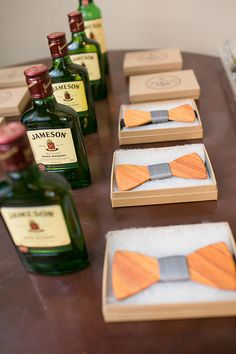 Wooden bow ties and Jameson are perfect for a #southernwedding | Phindy Studios | Brides.com