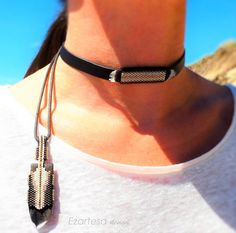 Beaded Choker, Native American Inspired Jewelry. Leather Choker with glass seed beads, brown cotton cord, and natural feathers