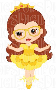 PRINCESS BALLERINAS with Glasses Digital Clip Art by DigiPops