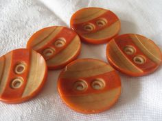 Set of 6 Dyed Orange Carved Vegetable Ivory BUTTONS by abandc