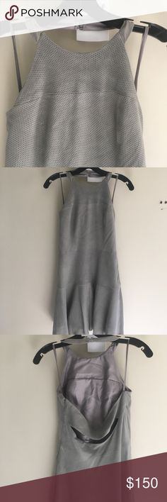 Perforated Suede Parker Dress Gorgeous light gray perforated suede dress. Halter neckline with side zip closure and open back Parker Dresses