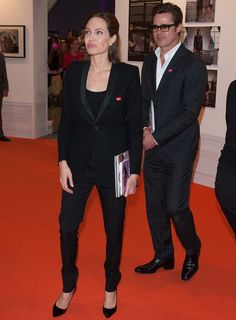 Angelina Jolie.. Saint Laurent - Virgin blazer and Silk Trousers, with Jimmy Choo Abel Patent-leather Pumps..