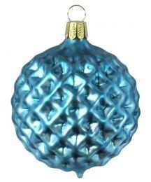 "Matte Blue Blown Glass Geometric Ball Ornament ~ Germany ~ 3"""