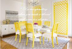 Yellow & Gray Dining Room - diane bergeron via ivy & piper
