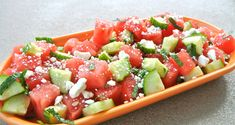 Watermelon Cucumber Salad- My cousin makes this and uses purple onion with Paul Newman's Lite Lime Salad Dressing.  Put shrimp in for a change up.  Delicious!