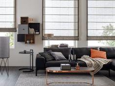 Wer auf zurückhaltende Vorhänge steht wird unseren neuen Faltrollo lieben! Schöner Wohnen mit Gardinen und Vorhängen von Trebes Raumausstattung.