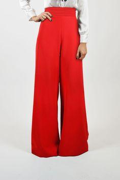 Coosy - Pantalón pata de elefante rojo