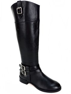 INC International Concepts Women's Fahnee Riding Boots Black Leather Size 5.5 M #INCInternationalConcepts #AnkleBoots #Casual