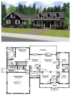 House Plan 99923 | Total living area: 1910 sq ft, 3 bedrooms & 2.5 bathrooms. An entertainment center enhances the spacious Great Room, while French doors lead from the Breakfast Room to a long outdoor Sundeck. #capecod #houseplan