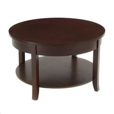 Bay Shore Collection Round Coffee Table With Shelf Espresso 30 In