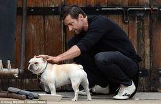 Hugh Jackman and his dog Dali OH MY GOD HE'S SO BEAUTIFUL. I mean, cute dog...