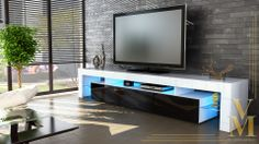 TV Stand Unit Board Lowboard Cabinet Lima V2 White - High Gloss & Natural Tones | eBay