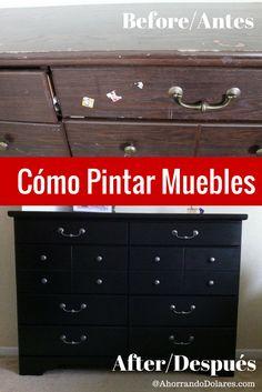 Cómo pintar muebles. Tutorial facil paso a paso para transformar tus muebles. Proyecto fácil y económico. Lista de materiales para pintar tus muebles. Hogar y proyectos en casa.