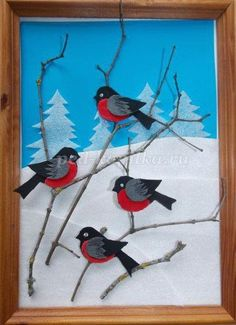 NEW MATERIAL! Try using thin flexible styrofoam sheets in collages. Looks awesome as snow! Winter Art Projects, Winter Project, Winter Crafts For Kids, Art For Kids, Craft Projects, Winter Diy, Bird Crafts, Felt Crafts, Diy And Crafts