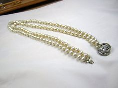 Art Deco Pearl Necklace Rhinestone Clasp 1920s by OurBoudoir, $38.00