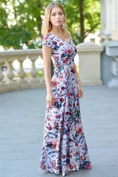Floral Dress Maxi Dress Summer Maxi Dress Short Sleeved Dress Flower Dress Office Dress Long D Best Prom Dresses, Modest Dresses, Casual Dresses, Dresses With Sleeves, Summer Dresses, Modest Clothing, Maxi Dresses, Flower Dresses, Floral Maxi Dress