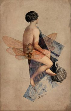 Venus Collage Wall Art by Catrin Welz-Stein From Great BIG Canvas. A nude woman with images of dragonflies overlapping. Venus Collage Wall Art by Catrin Welz-Stein From Great BIG Canvas. Art Du Collage, Mixed Media Collage, Wassily Kandinsky, Photoshop, Daria Petrilli, Illustrations, Illustration Art, Collages, Digital Image