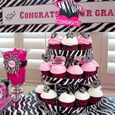 Pink & Zebra Graduation Cupcakes ~ Party City