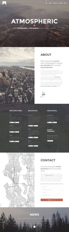 Refreshing layout in this responsive one pager for 'Atmospheric' - a new aerial photography service by Jason Schuller. Great choice of imagery and nice touch with the drone video background behind the upcoming showcase section. Seems like a fun venture! #drones #ingameplay #videos