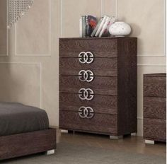 Modern #bedsidecabinets with 2 soft closing drawers in Birch wood look polished veneer and with stylish handles #furniture #modernfurniture