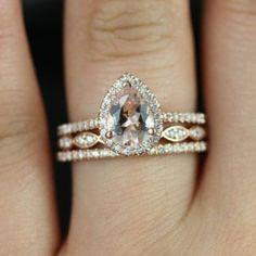 Tabitha 8x6mm & Christie 14kt Rose Gold Pear Morganite and Diamonds Halo TRIO…