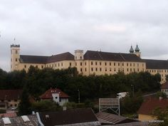 View of Lambach Abbey , taken from a passing train Innsbruck, Salzburg, Train Journey, Romanesque, Bavaria, Austria, Linz