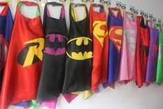 Party Pack 10 SUPERHERO CAPES - Superman, Batman, Spider man, Supergir, Spidergirl, Batgirl, Flash, Robin boy and girl child capes on Etsy, $69.00