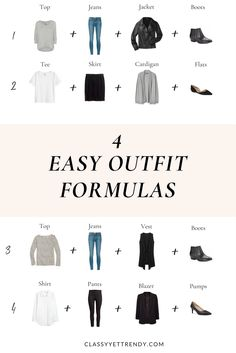 4 Easy Outfit Formulas - use these outfit ideas to get dressed quickly every day!  You can mix and match your wardrobe using a striped top, tee, shirt, jeans, pants, skirt, jacket, blazer, cardigan, vest, boots, flats and pumps to create many outfits.  Transform your closet!