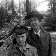 "Unpublished. ""The first Girl Scout,"" Daisy Gordon Lawrence (rear), with a young Scout  in 1948."