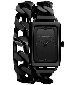 Karl Lagerfeld Watch, Womens Black Ion-Plated Stainless Steel Chain Bracelet