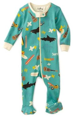 Hatley - Baby Boys Infant Surf's Up All Over Footed Coverall