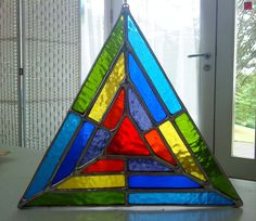 Rainbow Triangle Vibrant Stained Glass Window by pewtermoonsilver
