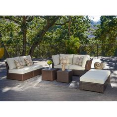 Corvus Oreanne 8-piece Hand-woven Resin Wicker Outdoor Furniture Set - Overstock.com.  Yet another option for large outdoor patio space outside formal living room.