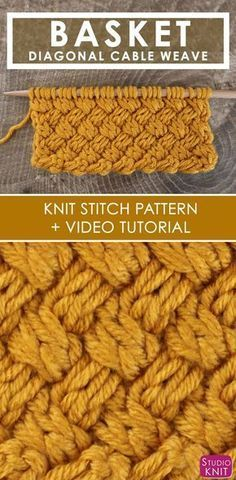 How to Knit the Basket Weave Stitch Diagonal Braided + Woven Cables with Free Knitting Pattern + Video Tutorial by Studio Knit  #StudioKnit #knitstitchpattern #knittingstitches #howtoknit #knittingpattern #cableknit