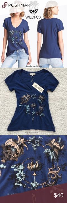🆕NWT Wildfox floral v-neck t-shirt Just reduced! Brand new with tags Wildfox floral blue v-vneck t-shirt  with cap sleeves and slight flare bottom. Retailed at $80 and sold out. Sized xs but could also fit a small.❗Please read my recently updated 'about me and my closet' listing for pricing/policies. Wildfox Tops Tees - Short Sleeve