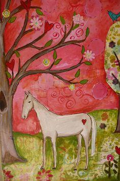 I Dream of Horses Original Mixed Media Pink by evesjulia12 on Etsy, $72.00
